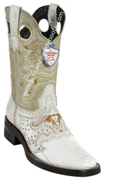 Men's Wild West Ostrich Leg Boots With Rubber Sole Square Toe Handcrafted 281TH0528