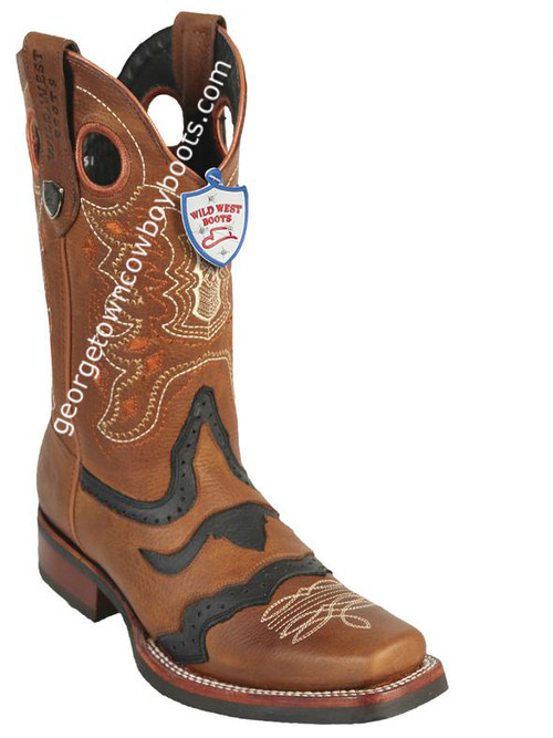 Men's Wild West Boots With Rubber Sole Genuine Grisly Leather Square Toe Handcrafted 281TH2751