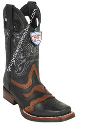 Men's Wild West Boots With Rubber Sole Genuine Grisly Leather Square Toe Handcrafted 281TH2705