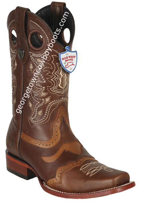 Men's Wild West Boots Genuine Pull Up Leather Square Toe Handcrafted 281TC3807