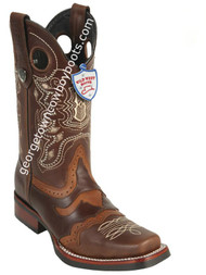 Men's Wild West Boots With Rubber Sole Genuine Pull Up Leather Square Toe Handcrafted 281TH3807