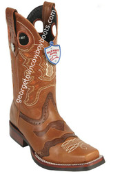 Men's Wild West Boots With Rubber Sole Genuine Pull Up Leather Square Toe Handcrafted 281TH3851