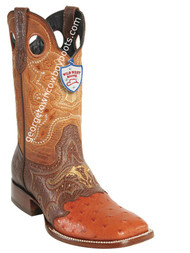 Men's Wild West Ostrich Wide Square Toe Boots Handcrafted 282TC0303