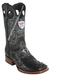 Men's Wild West Ostrich Wide Square Toe Boots Handcrafted 282TC0305