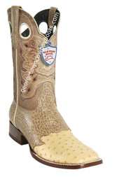 Men's Wild West Ostrich Wide Square Toe Boots Handcrafted 282TC0311
