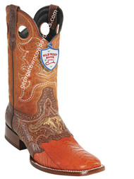 Men's Wild West Ostrich Leg Wide Square Toe Boots Handcrafted 282TC0503