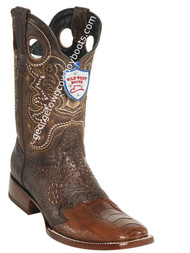 Men's Wild West Ostrich Leg Wide Square Toe Boots Handcrafted 282TC0507