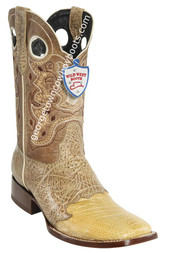 Men's Wild West Ostrich Leg Wide Square Toe Boots Handcrafted 282TC0511
