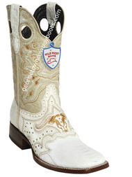 Men's Wild West Ostrich Leg Wide Square Toe Boots Handcrafted 282TC0528