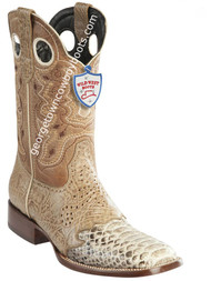 Men's Wild West Python Wide Square Toe Boots Handcrafted 282TC5749