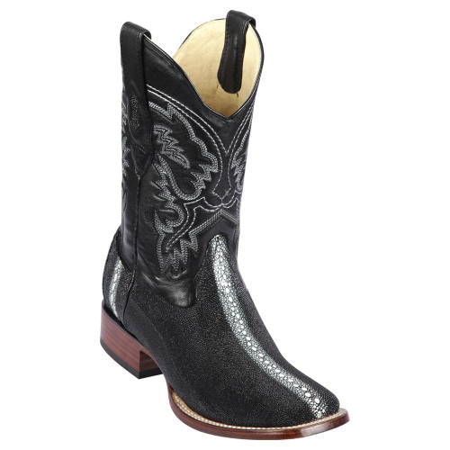 Mens Los Altos Square Toe Stingray Full Rowstone Black 8221105