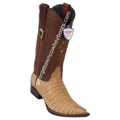Men's Wild West Caiman Belly 3x Toe Boots Handcrafted 295G8251