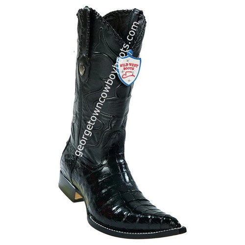 Men's Wild West Caiman Belly 3x Toe Boots Handcrafted 2958205
