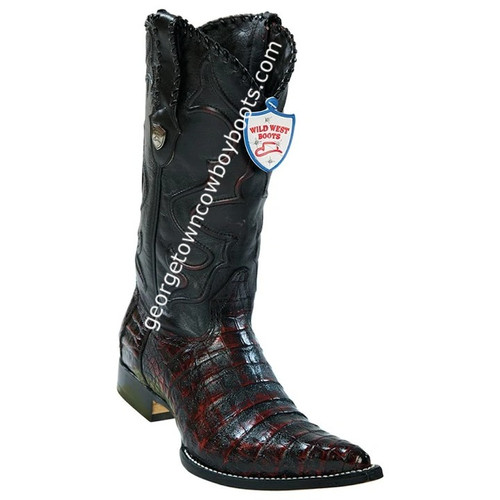 Men's Wild West Caiman Belly 3x Toe Boots Handcrafted 2958218