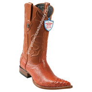Men's Wild West Smooth Ostrich 3x Toe Wing Tip Boots Handcrafted 2950403