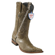Men's Wild West Smooth Ostrich 3x Toe Wing Tip Boots Handcrafted 2950465