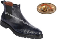 Men's Lombardy Caiman Belly And Ostrich Leather Dress Shoe ZLM078210