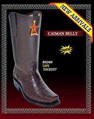 Los Altos Biker Boots Caiman Belly Brown- 55C8207