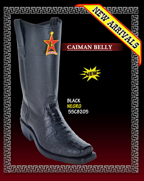 Los Altos Biker Caiman Belly Boots Black - 55C8205
