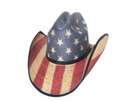tar Spangled 20x Straw Hat by Bullhide & Montecarlo Style 2928