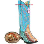 Womens Los Altos Snip Toe Genuine Python Boots Handcrafted Multi Color Turquoise 345731