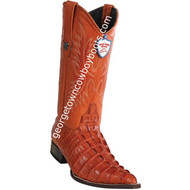Men's Wild West Caiman Tail Print Boots 3X Toe Handcrafted 6950103