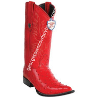Men's Wild West Ostrich Print Boots 3X Toe Handcrafted 6950312