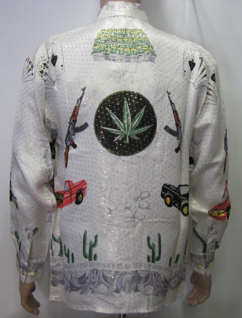 Cannabis Leaf,Trucks, Money & Machine Guns Silk Shirt