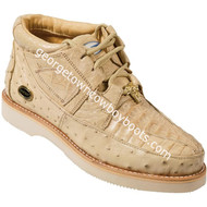 Men's Wild West Caiman With Ostrich Casual Shoes Handcrafted 2ZA050211