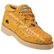Men's Wild West Caiman With Ostrich Casual Shoes Handcrafted 2ZA050202