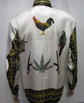 3 Animals ,Goat,Parrot and Rooster Silk Shirt
