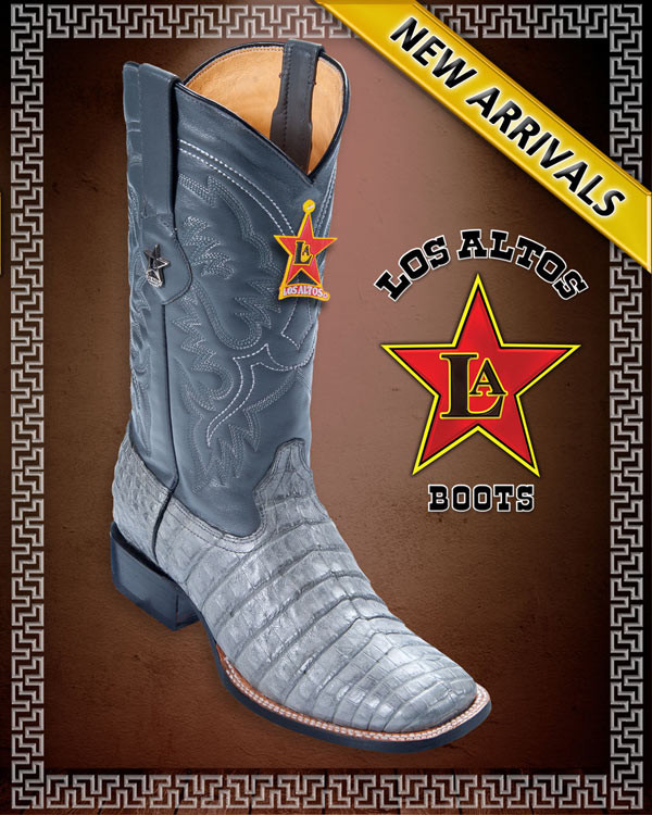 58f51ac3e7c CAIMAN ALLIGATOR BELLY GREY WIDE SQUARE TOE WESTERN COWBOY BOOTS MEN'S by  Los Altos Boots