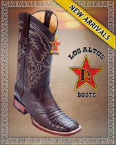 Caiman Belly Brown Cowboy Western Boots Rodeo Style with Saddle, Brown-8218207