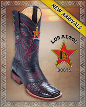 Caiman Belly Brown Cowboy Western Boots Rodeo Style with Saddle, Cherry Black 8218218