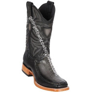 Men's Los Altos Genuine Ostrich & Deer Leg Skin Leather Boots Handcrafted 82F0538