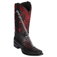 Men's Los Altos Caiman Tail & Deer European Square Toe Boots Handcrafted 76F0118