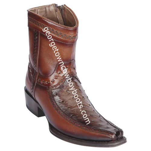 Men's Los Altos Ostrich And Deer Boots European Square Toe Handcrafted 76BF0316