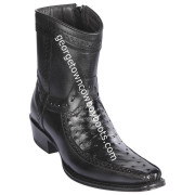 Men's Los Altos Ostrich And Deer Boots European Square Toe Handcrafted 76BF0305