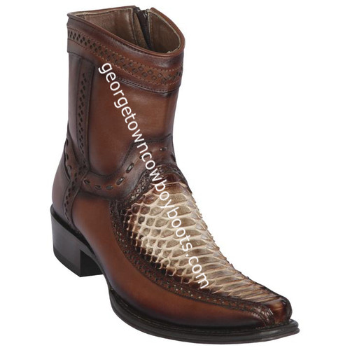 Men's Los Altos Python And Deer Boots European Square Toe Handcrafted 76BF5785