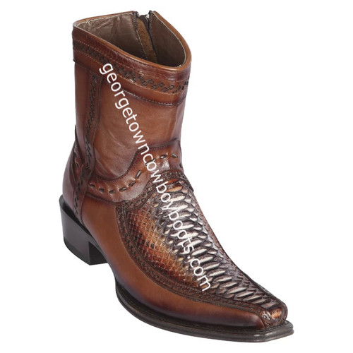 Men's Los Altos Python And Deer Boots European Square Toe Handcrafted 76BF5788