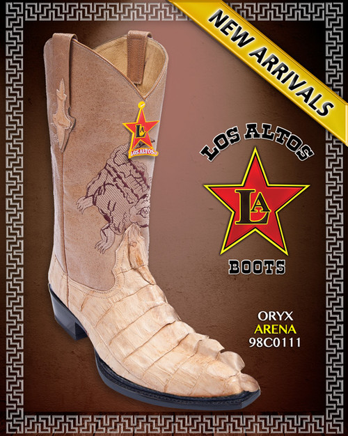 J Toe Off White/Oryx Caiman Tail Western Boots, Style : 98C0111, Los Altos Boots