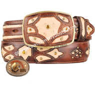 King Exotic Ostrich Western Fashion Belt Handcrafted 4C11F0315