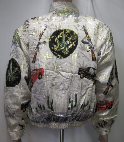 Silk Bomber Jacket White and Gold