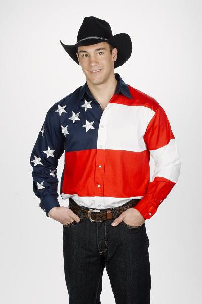 Cowboy Stars and Stripes Shirt American Flag 100% Cotton