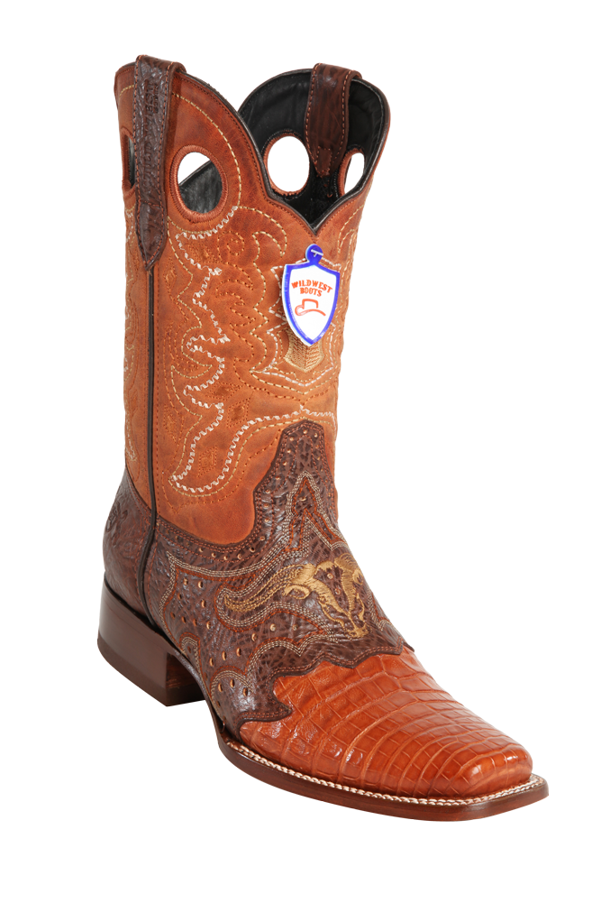 a26cc46e9af Wild West Men's Saddle Rodeo Cowboy Western Caiman Boots,Brown,Cognac and  Oryx