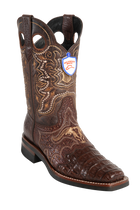 Wild West Boots Caiman Square Toe Brown with Leather Soles Style:2828207