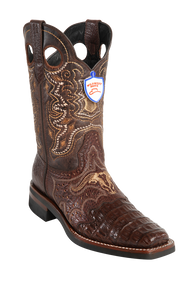 Wild Rodeo Toe Caiman Boots Brown Caiman with Rubber Soles Style:282H8207