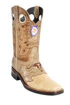Wild Rodeo Square Toe Caiman Boots Oryx/Sand w/Rubber Soles Style:282H8211