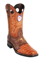 Wild Rodeo Square Toe Caiman Boots Cognac Caiman w/Rubber Soles Style;282H8203