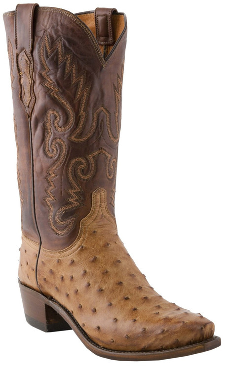 Lucchese Heritage Mens Barnwood Full Quill Ostrich Leather Boots N1062